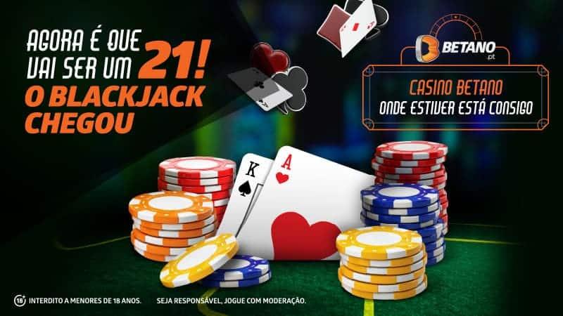 Blackjack chegou á Betano